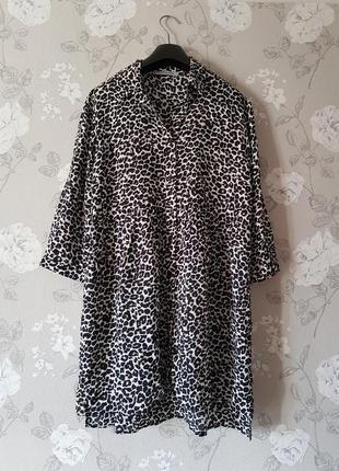 Стильная вискозная блуза в леопардовый принт,легкая блуза туника,платье оверсайз