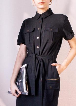 Платье миди, милитари, карго,  платье рубашка, классическое платье,