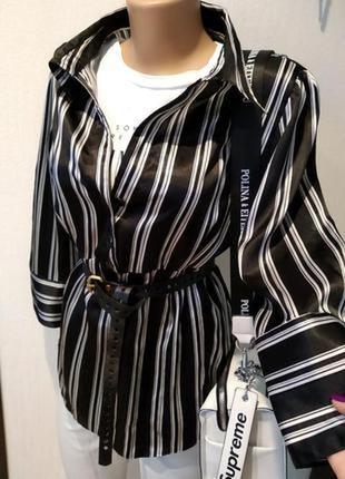 Стильная брэндовая рубашка блузка полосатая атласная с завышенной линией талии