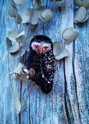 Брошь сова брошка совушка птица из бисера5 фото