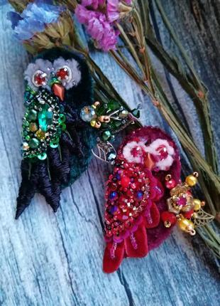 Брошь сова брошка совушка птица из бисера7 фото