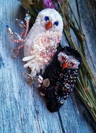 Брошь сова брошка совушка птица из бисера9 фото