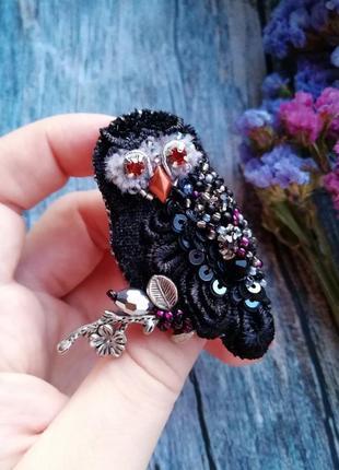 Брошь сова брошка совушка птица из бисера4 фото