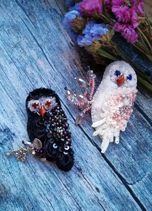 Брошь сова брошка совушка птица из бисера2 фото