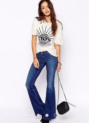 Diesel новые синие джинсы клеш оригинал актуальный и модный фасон