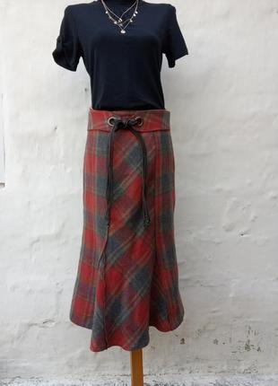 Красивая теплая шерстяная юбка в клетку,клинья,ремень завязка,годе.