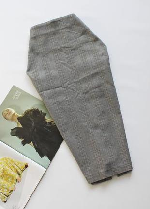 Красивая юбка карандаш в клетку серая 12 л