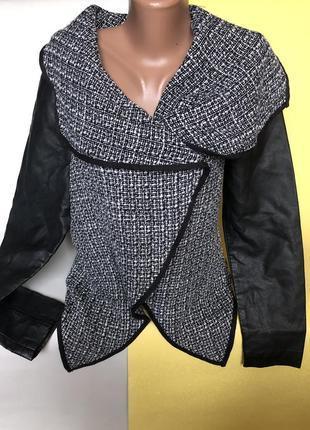 Крутой пиджак, кардиган с кожаными рукавами