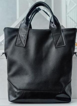 Интересная сумка делового стиля из натуральной кожи чёрный