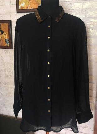 Шифоновая рубашка, воротник золотистые пайетки