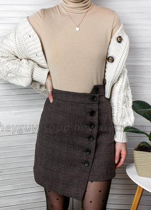 Коричневая серая мини юбка в клетку асимметричная на пуговицах теплая на подкладке