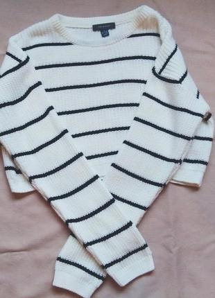Укороченый оверсайз свитер в полоску