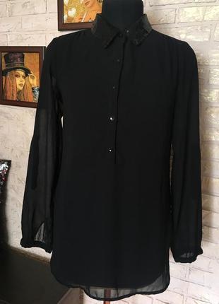 Шифоновая рубашка, воротник черные пайетки