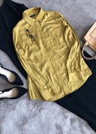 Блуза рубашка кофта на пуговицах горчичная карманом шелковая