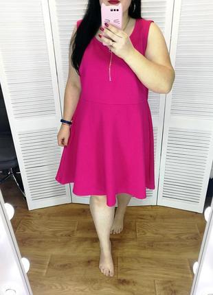 Платье малинового цвета, спереди на молнии, р. 26.