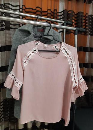 Стильная пудровая блуза, размер xxl