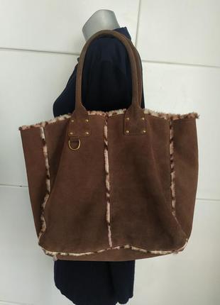Стильная сумка шопер gap из натуральной кожи
