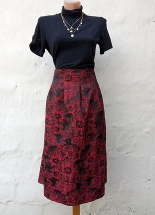 Красивая пышная юбка миди в принт цветы bonmarche,выбитые маки.