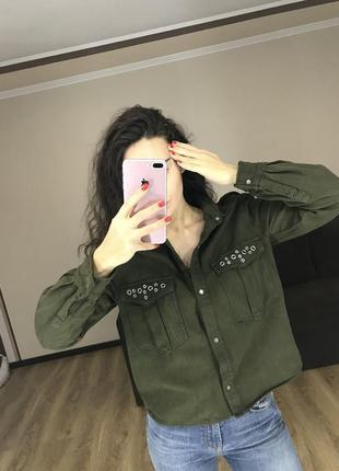 Стильная рубашка хаки милитари zara premium denim