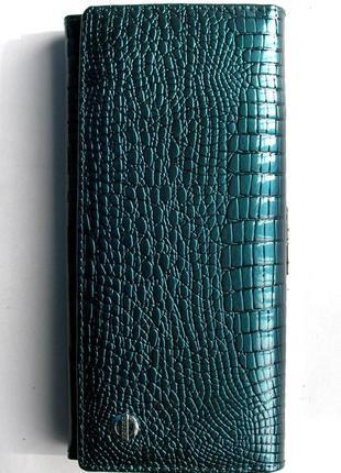 Большой кожаный лаковый кошелек royal blue, 100% натуральная кожа, есть доставка бесплатно