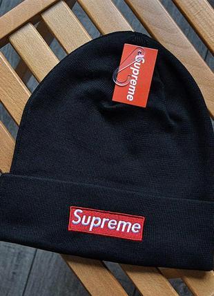 Шикарные мужские шапки supreme black универсальная акрил