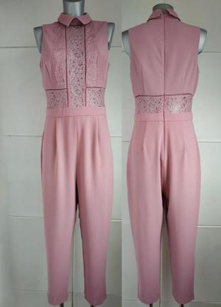 Стильный комбинезон с брюками asos розового цвета с кружевом.