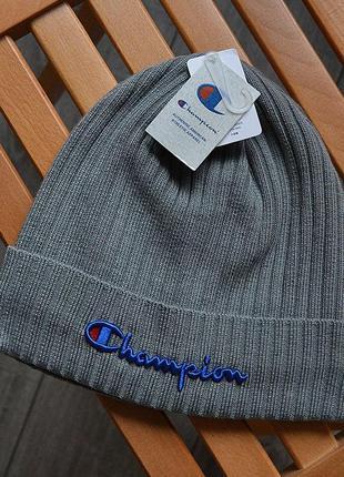 Шикарные мужские шапки champion gray универсальная акрил