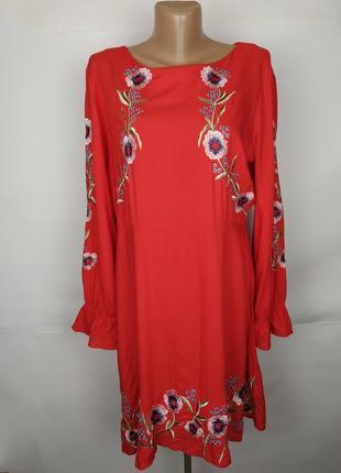 Платье красное вискозное красивое с вышивкой new look uk 16/44/xl