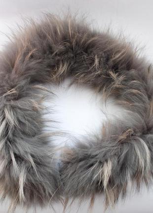 Мех енота воротник меховый на капюшон опушка  серый пепельный натуральный мех 68 см