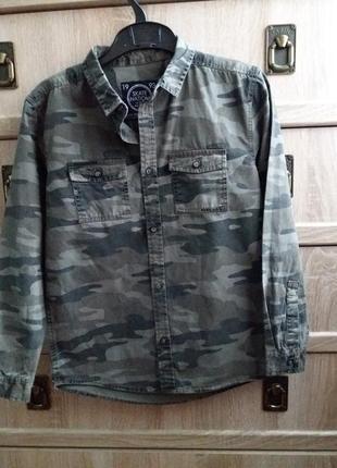 Джинсовая милитари рубашка на мальчика here there