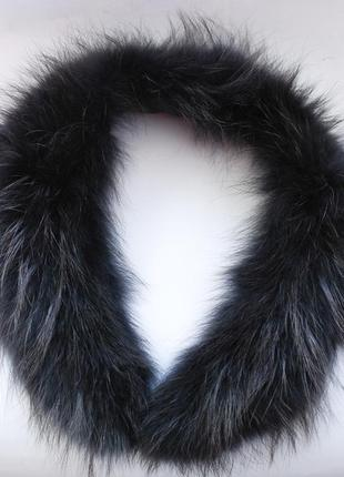 Мех чернобурки воротник меховый на капюшон опушка серый черный натуральный мех 68 см