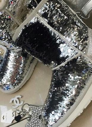 "Угги "" silver pack "" натуральный замш, двойная пайетка. хитовая моделька\ распродажа"