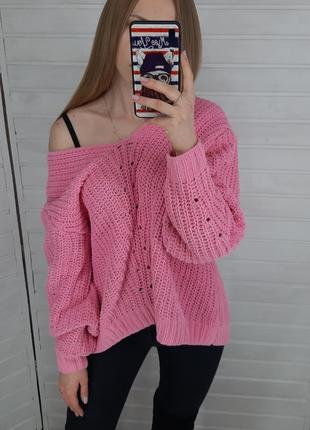 Розовый плюшевый свитер  h&m