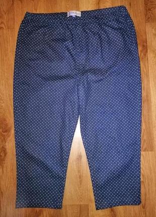 🌺🎀🌺женские синие укороченные джинсы, брюки штаны в белый горошек 18 р. authentic denim🔥🔥🔥