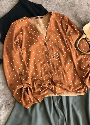 Блуза рубашка в горох горошек на завязках пуговицах горчичная