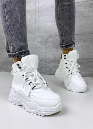 ❤ женские белые зимние ботинки сапоги полусапожки ботильоны на меху ❤