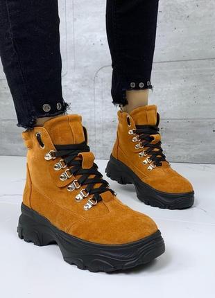 ❤ женские горчичные зимние замшевые ботинки сапоги полусапожки ботильоны на шерсти ❤
