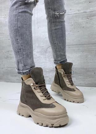❤ женские зимние кожаные замшевые ботинки сапоги полусапожки ботильоны на шерсти ❤