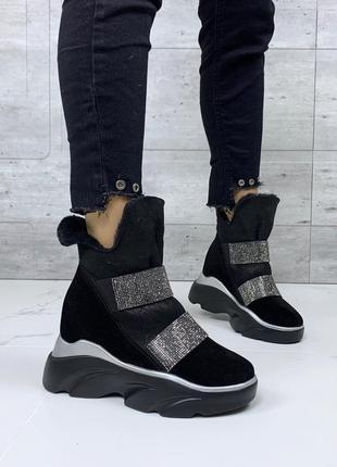 ❤ женские черные зимние замшеввые ботинки сапоги полусапожки ботильоны на шерсти ❤
