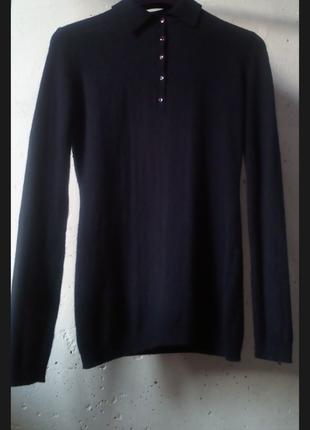 Шерстяное поло джемпер чернильный цвет  в стиле massimo dutti