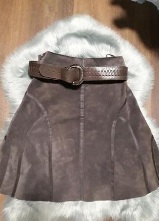 Италия кожаная замшевая юбка