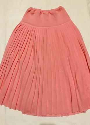 Розовая юбка плиссе с кокеткой