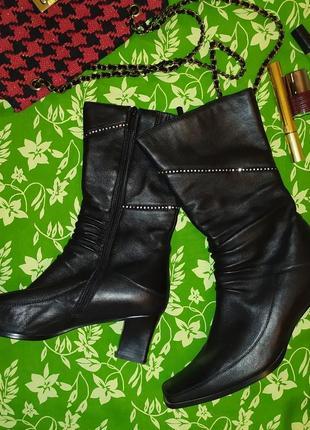 Мягкие кожаные утепленные сапоги, еврозима, на квадратном каблуке