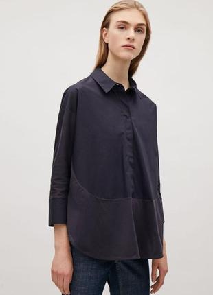 Хлопковая рубашка cos темно-синяя цвет нави размер s