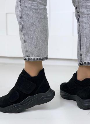 ❤ женские черные зимние замшевые ботинки сапоги полусапожки ботильоны на шерсти ❤