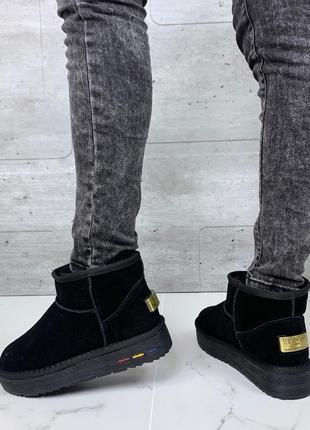 ❤ женские черные зимние замшевые угги ugg ботинки сапоги полусапожки ботильоны на шерсти ❤