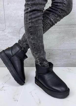 ❤ женские черные зимние кожаные угги ugg ботинки сапоги полусапожки ботильоны на меху ❤
