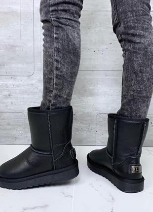 ❤ женские черные зимние кожаные угги ботинки сапоги полусапожки ботильоны на шерсти ❤