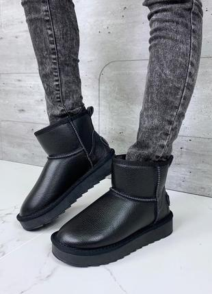 ❤ женские черные зимние кожаные угги ботинки сапоги полусапожки ботильоны на меху ❤