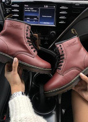 Шикарные женские зимние кожаные ботинки/ сапоги dr. martens bordo fur 😍 с мехом